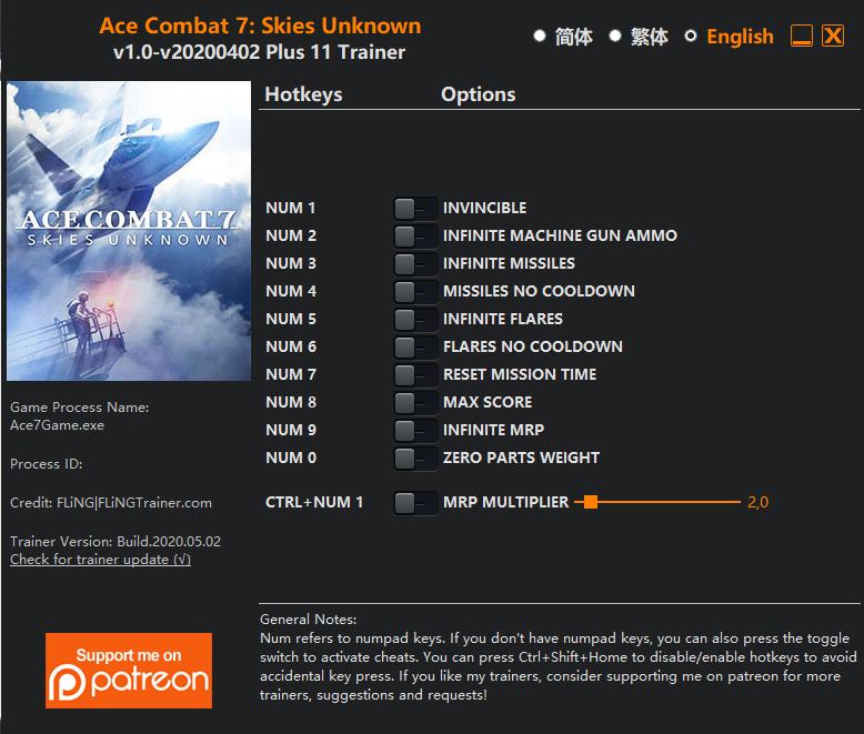2020 05 05 12h14 14 Ace Combat 7: Skies Unknown   Trainer +11 v1.0 v20200402 [FLING]