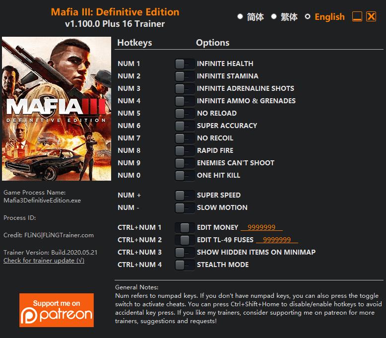 2020 05 27 20h51 45 Mafia III: Definitive Edition   Trainer +16 v1.100.0 [FLING]