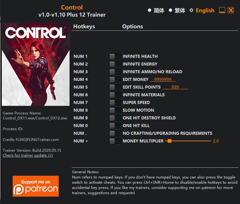 control fling CONTROL: Trainer +12 v1.0 v1.10+ DX11/DX12 [FLING]