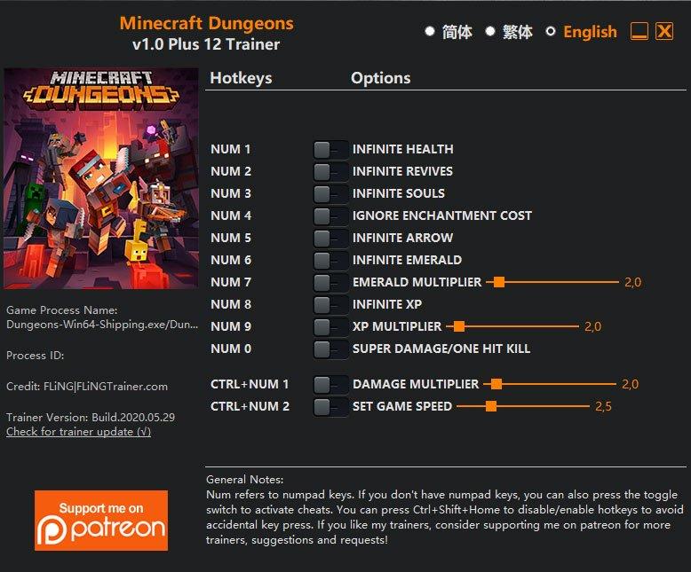 2020 06 01 12h42 32 Minecraft Dungeons: Trainer +12 v1.0 [FLING]