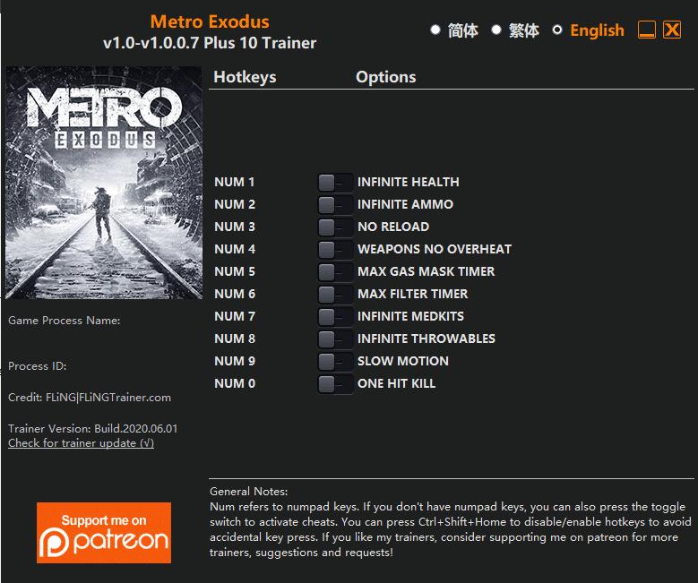exodus Metro Exodus: Trainer +10 v1.0 v1.0.0.7 [FLING]