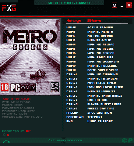 2020 07 28 16h01 43 Metro Exodus: Trainer +20 v1.0.0.7 [FutureX]