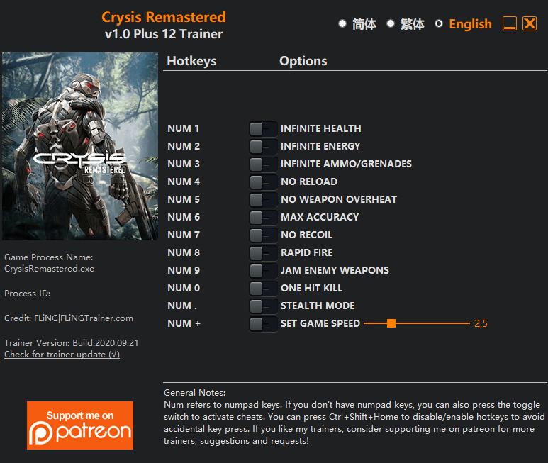2020 10 02 13h03 27 Crysis Remastered: Trainer +12 v1.0 [FLING]
