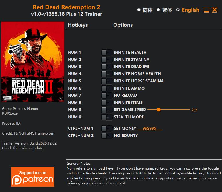 2020 12 06 09h44 05 Red Dead Redemption 2 Trainer +12 v1.0 v1355.18 [FLING]