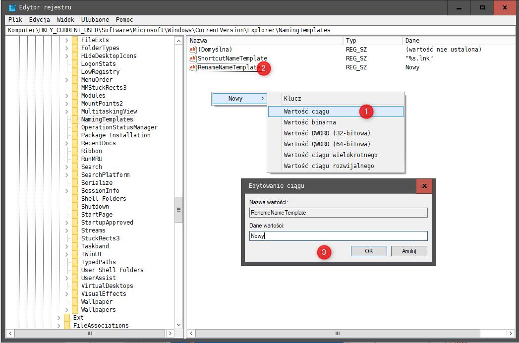 Zrzut ekranu 386 Zmieniamy nazwę nowo utworzonych folderów w systemie Windows 10
