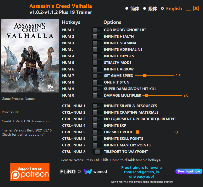 2021 03 08 11h04 08 Assassins Creed: Valhalla   Trainer +19 v1.0.2 v1.1.0 [FLING]