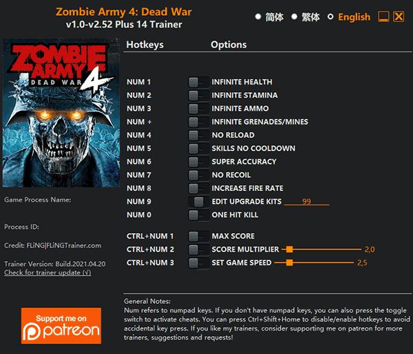 zombie Zombie Army 4: Dead War   Trainer +14 DX12/Vulkan v1.0 v2.52 [FLING]