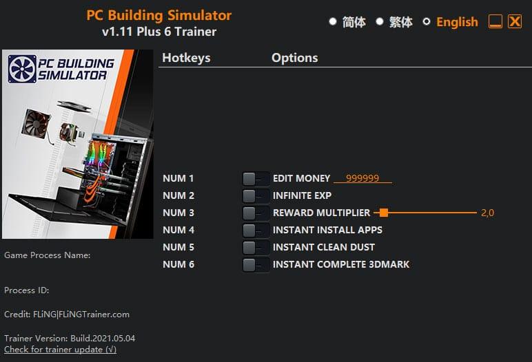2021 05 19 12h52 58 PC Building Simulator: Trainer +6 v1.11 [FLING]
