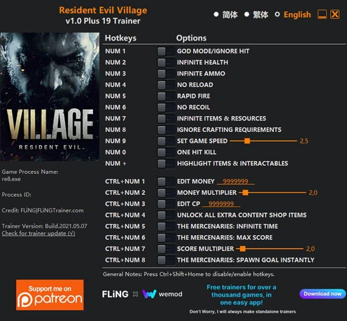 village Resident Evil Village: Trainer +19 v1.0 [FLING]