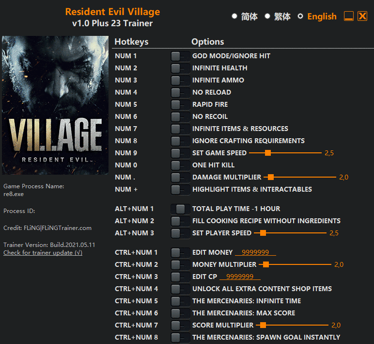 2021 06 04 12h38 17 Resident Evil Village: Trainer +23 v1.0 [FLING]